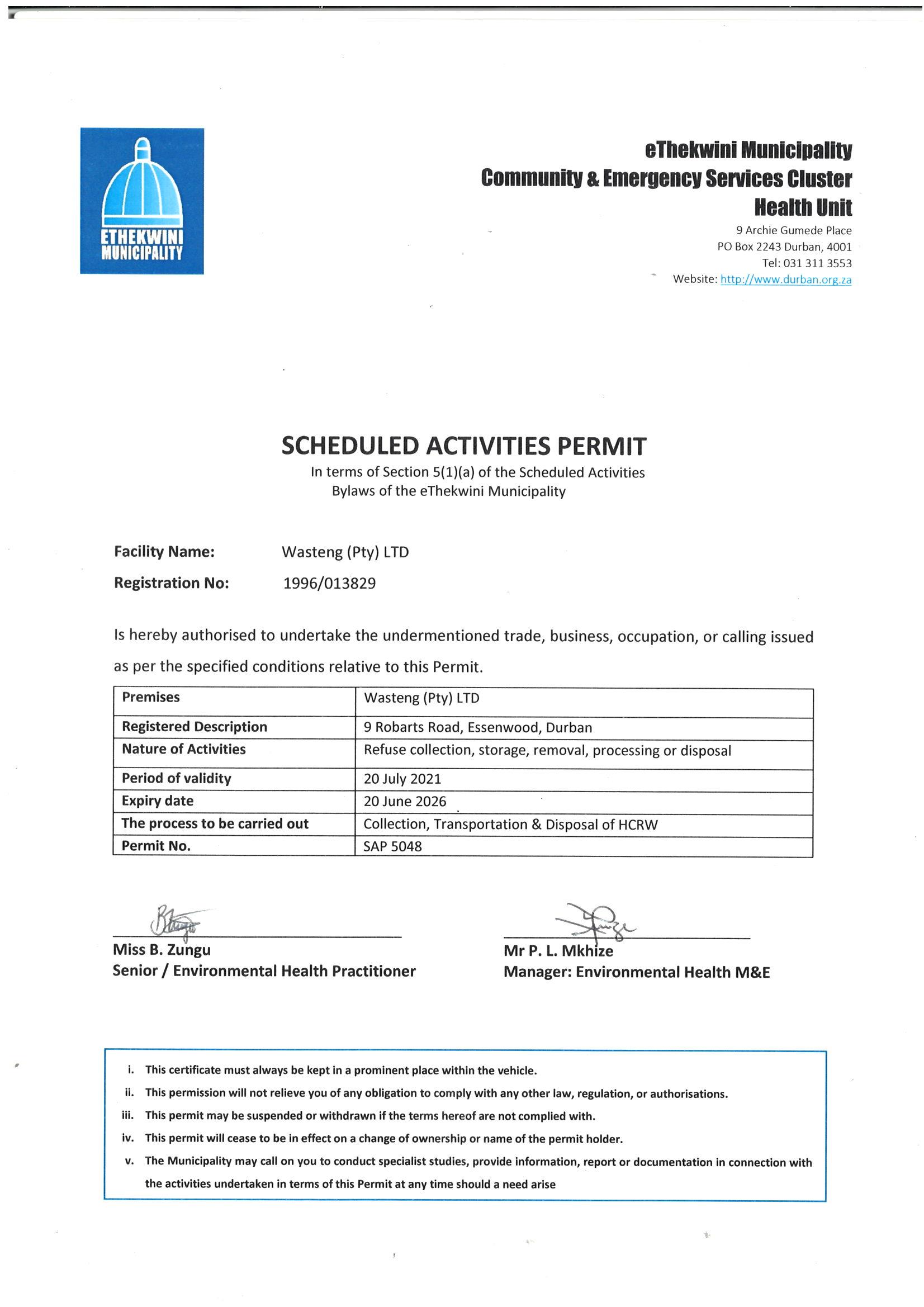 Ethekweni Municipality permit