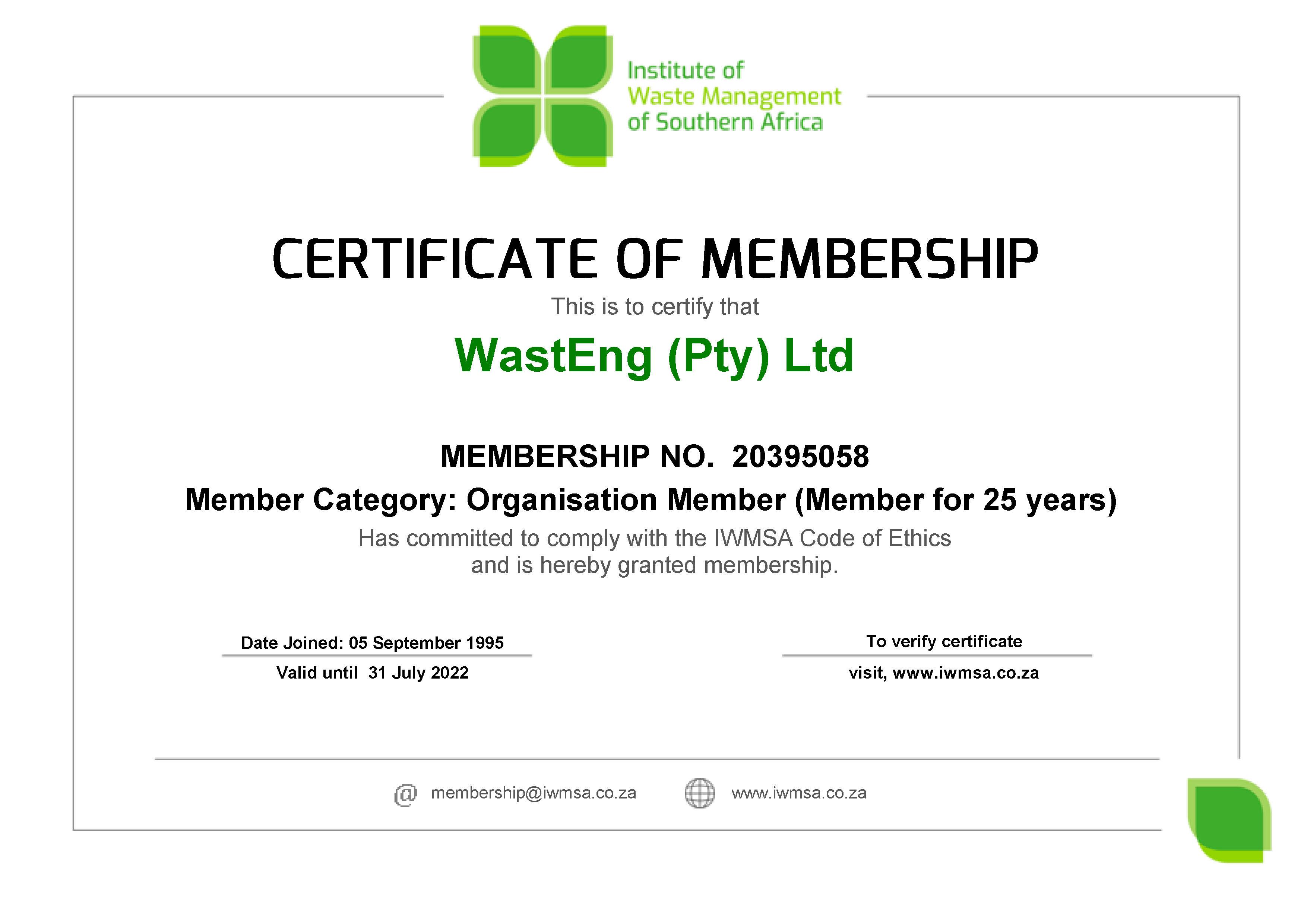 WastEng (Pty) Ltd (20395058) MembershipCertificate